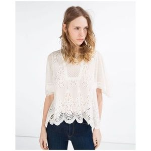 ZARA Ivory Embroidered Eyelet Lace Peasant Top C4
